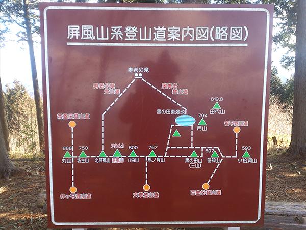 屏風山系登山道案内図